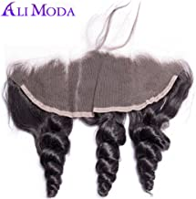 Ali Moda 13X4 Ear To Ear Malaysian Loose Wave Bleached Knots Lace Frontal Closure with Baby Hair 130% Density 100% Unprocessed Human Hair Natural Hairline 16 inch