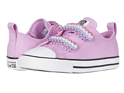 Converse Kids Chuck Taylor(r) All Star(r) 2V Voltage (Infant/Toddler) (Peony Pink/Black/White) Girl