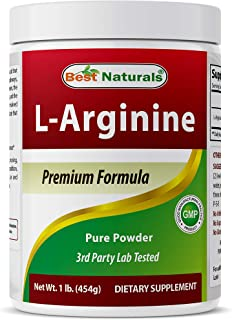 Best Naturals L-Arginine Powder 1 Pound - Pure Pharmaceutical Grade Free Form - Best Amino Acid Arginine Supplements for W...