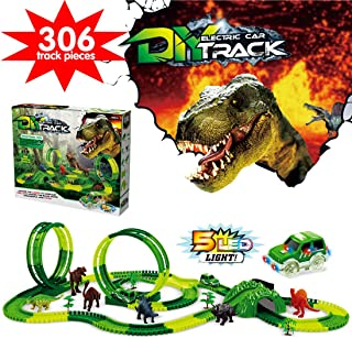 YITOOK Dinosaur Race Car Tracks Toys for Kids,Dual Loops 360° Route Race Car Flexible Track Set, Children's DIY Variety Assembly Flexible Tracks,Christmas and Birthday for Boys Girls