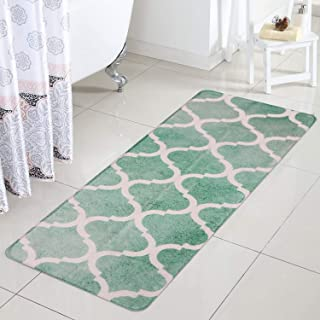 Uphome Bathroom Rug Runner Luxury Light Green Moroccan Velveteen Bath Mat 18x47 inch Non-Slip Geometric Long Kitchen Rugs Soft Microfiber Floor Carpet for Shower Bathtub