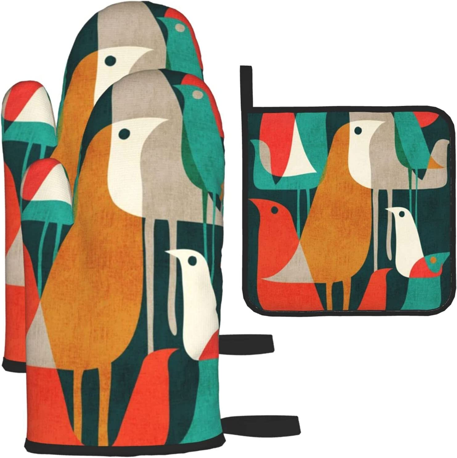 Flock of Birds Oven Mitts and 3 Sets Pot Holders Resista Heat Cheap mail order Milwaukee Mall specialty store
