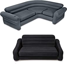 Intex Inflatable Corner Couch Sectional + Queen Size Pull-Out Futon Sofa Bed