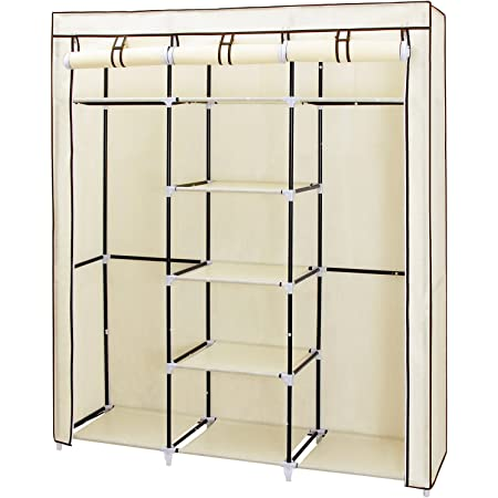 SONGMICS Portable Clothes Closet, Non-Woven Fabric Wardrobe with 2 Hanging Rods, 9 Storage Shelves, Storage Organizer, Beige URYG12M