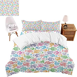 vroselv-home Bedding 3D, Funny Fish Aquaic Motif Print 4 Piece Bed Set with 2 Pillow Shams Cool Duvet Cover Set for Child Gift - Full Size/NO Comforter