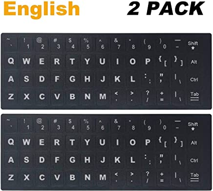 """[2 Pack] Universal English Keyboard Stickers, Replacement English Keyboard Stickers with Black Background and White Lettering for Computer, Each Unit: Width 0.43"""" x Height 0.51"""" (English)"""