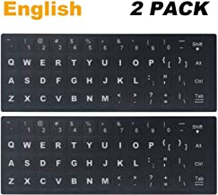 "[2 Pack] Universal English Keyboard Stickers, Replacement English Keyboard Stickers with Black Background and White Lettering for Computer, Each Unit: Width 0.43"" x Height 0.51"" (English)"