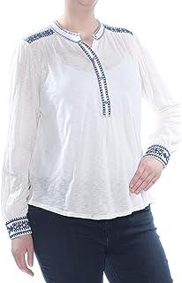 Lucky Brand womens EMBROIDERED HENLEY TOP Shirt