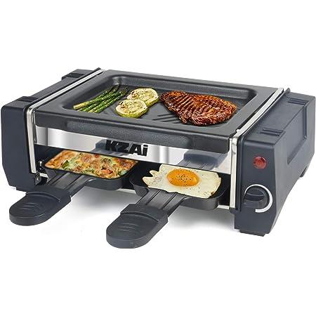 Raclette 2 Personnes Mini Appareil Raclette avec Spatule en Bois, Thermostat Revêtement Antiadhésif, 500W