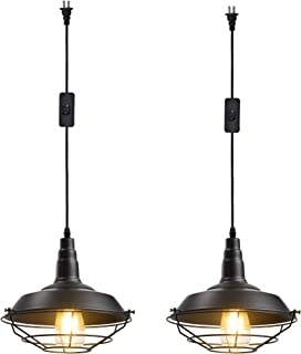 Ivalue Industrial Hanging Pendant Light with Plug in Cord Pack of 2 Black Cage Barn Pendant Lamps for Kitchen Dining Room(DC-Black-Plug in -2)