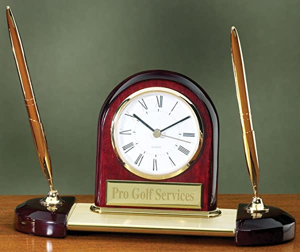 Desk Clock Pen Set With Free Engraving