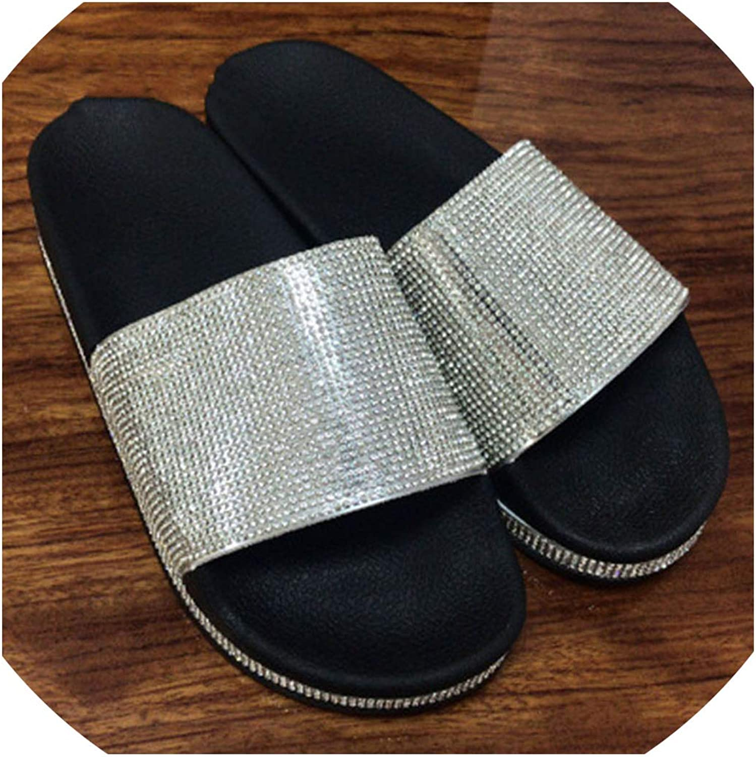 Boom-moon Rhinestone Slippers Bling Outdoor Summer Crystal Ladies Slides