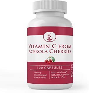Natural Vitamin C from Acerola Cherry, High Potency, No Synthetic Ascorbic Acid, with No Additives, Rice Fi...