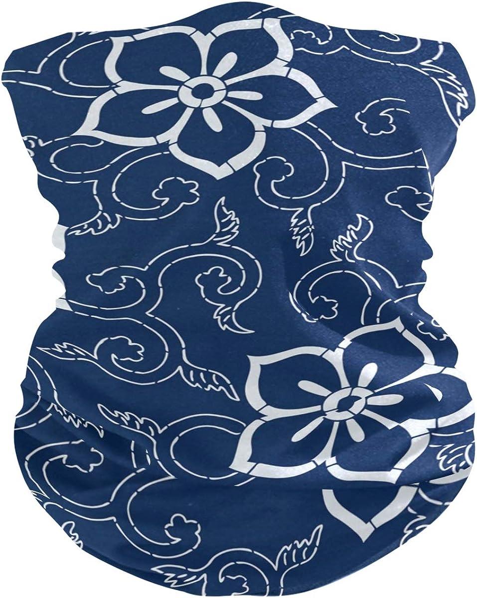 Face Mask Bandana for Women Men, Dark Blue Floral Pattern Neck Gaiter Balaclava Face Cover Sun Dust Mask Magic Scarf Headwear