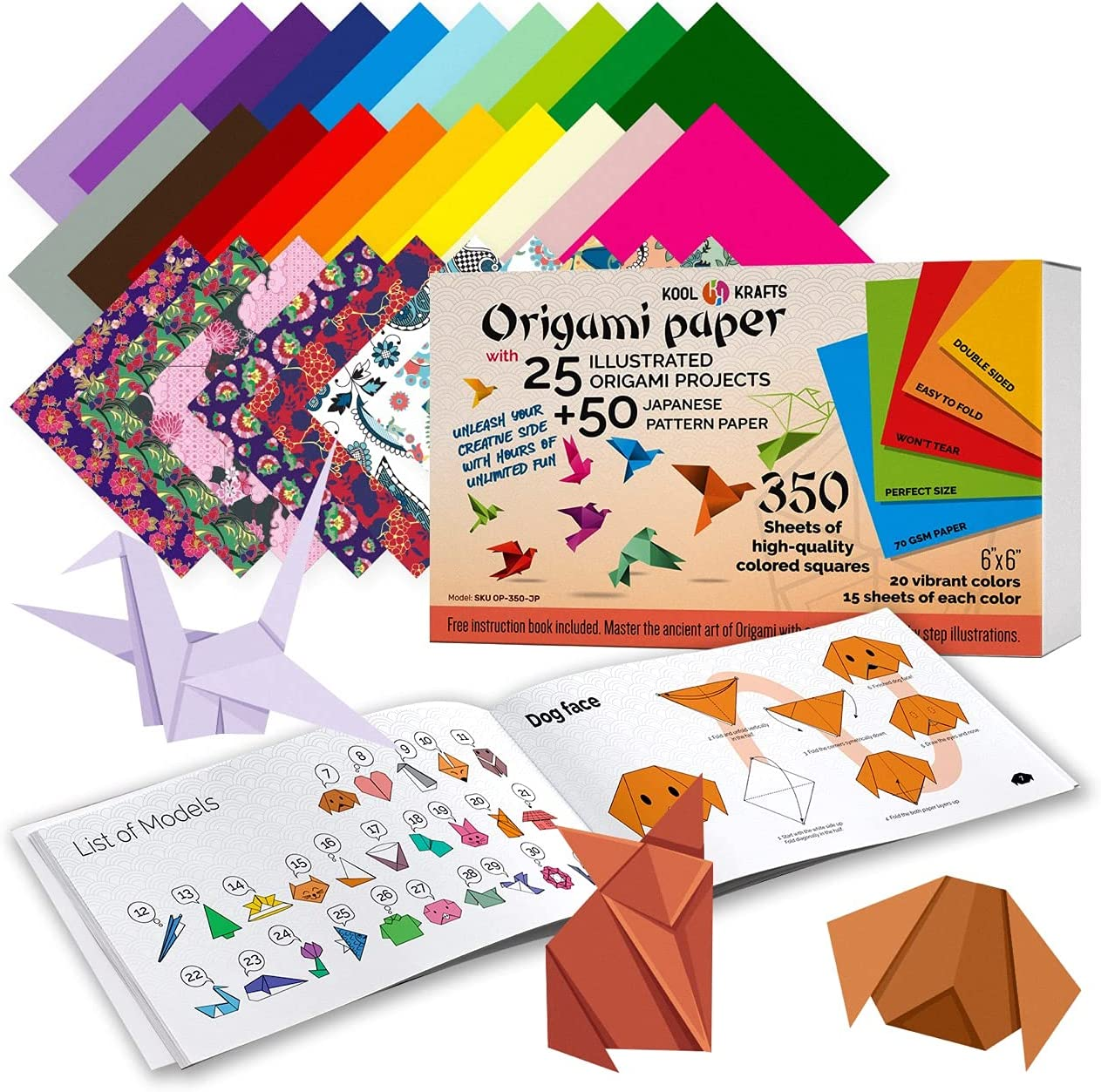 Origami Paper   350 Origami Paper Kit   Set Includes - 300 Sheets 20 Colors 6x6   50 Traditional Japanese Patterns   Origami Book 25 Easy Colored Projects   Crafts for Kids   Art Supplies Kids 9-12