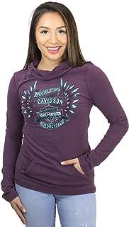 HARLEY-DAVIDSON Womens Still in Awe Winged B&S Pullover Purple Long Sleeve Hoodie