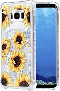 Flocute Galaxy S8 Plus Case, Galaxy S8 Plus Floral Case Flower Bling Sparkle Floating Liquid Soft TPU Cushion Luxury Fashion Girly Women Cute Case for Samsung Galaxy S8 Plus (Sunflower)