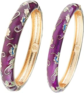 UJOY Cuff Bangles Cloisonne Jewelry Set 2pcs Large Small Bracelets for Women with Gift Box 55A-B
