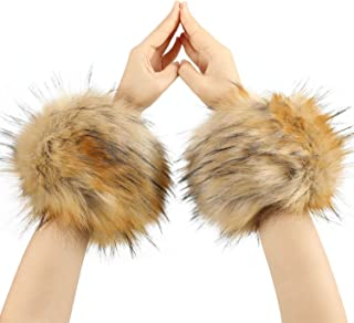 Furry Wrist Cuffs, Winter Faux Fur Arm Warmer Fuzzy Wrist Bands for Women Girl's Gift Costumes Party Accessories Keeping Warm in Cold Winter