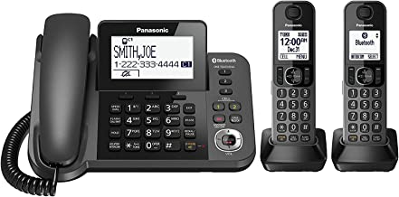 Panasonic KX-TGF382M Link2Cell Bluetooth Corded/Cordless Cordless Phone and Answering Machine with 2 Cordless Handsets (Renewed)