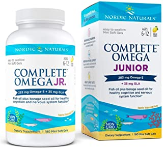 Nordic Naturals Complete Omega Jr, Lemon - 180 Mini Soft Gels - 283 mg Total Omega-3s & 35 mg GLA - Healthy Cognition, Ner...