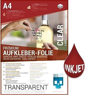 SKULLPAPER Lámina adhesiva A4 Premium transparente para impresora de inyección de tinta (10 hojas)