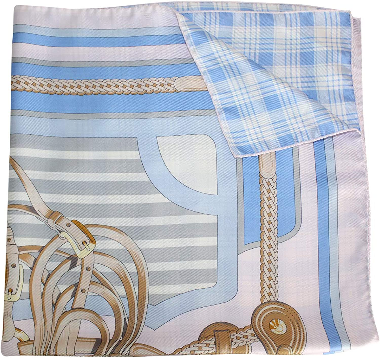 Balbianello Womens Equestrian Silk Scarf bluee One Size