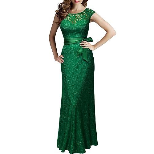 eaa18f811 Kemosen Mujer Elegantes Vestidos Floral Precioso Largo sin Manga de Gasa  Madrina Fiesta Boda con cinturón
