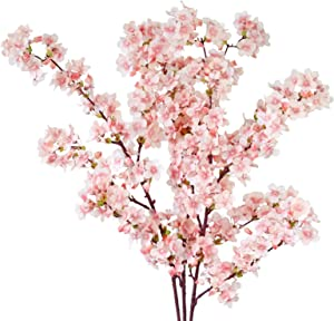 MINYULUA Artificial Cherry Blossom Branches, 39 Inch Faux Cherry Flowers, Silk Tall Fake Flower Vase Arrangements for Home Wedding Decor, Set of 3, Pink