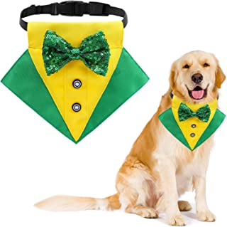 HACRAHO Dog Tuxedo Bandana Collar, 1 Piece St. Patrick's Day Dog Bandana Collar with Bow Tie Adjustable Formal Dog Tuxedo ...