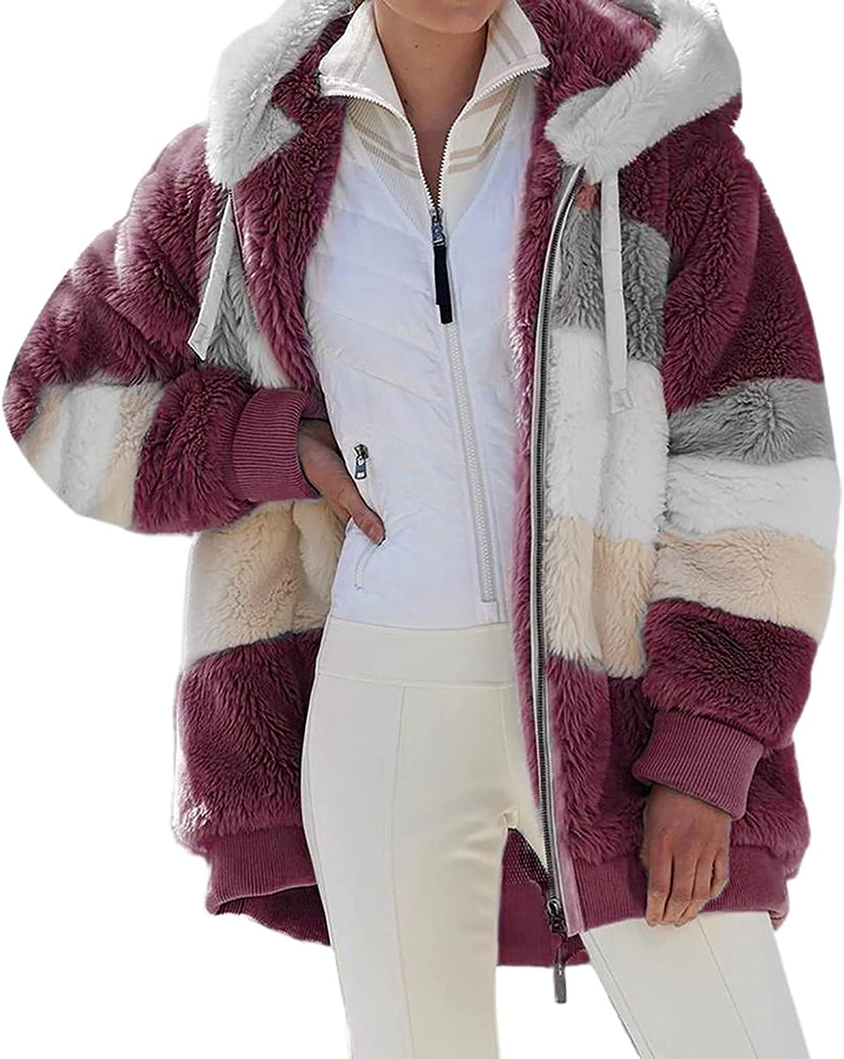 Women's Fashion Long Sleeve Jacket Faux Fur Hooded Sweater Coat Contrast Color Shaggy Zip Up Outwear Tops with Pockets