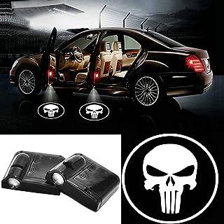 LED Auto Projektor, 2 Stück Autotür Willkommen Batman Muster Schatten Licht, Universal Drahtlose Wireless Magnetisch Sensor Schatten Logo Licht für Autotür (Schädel)
