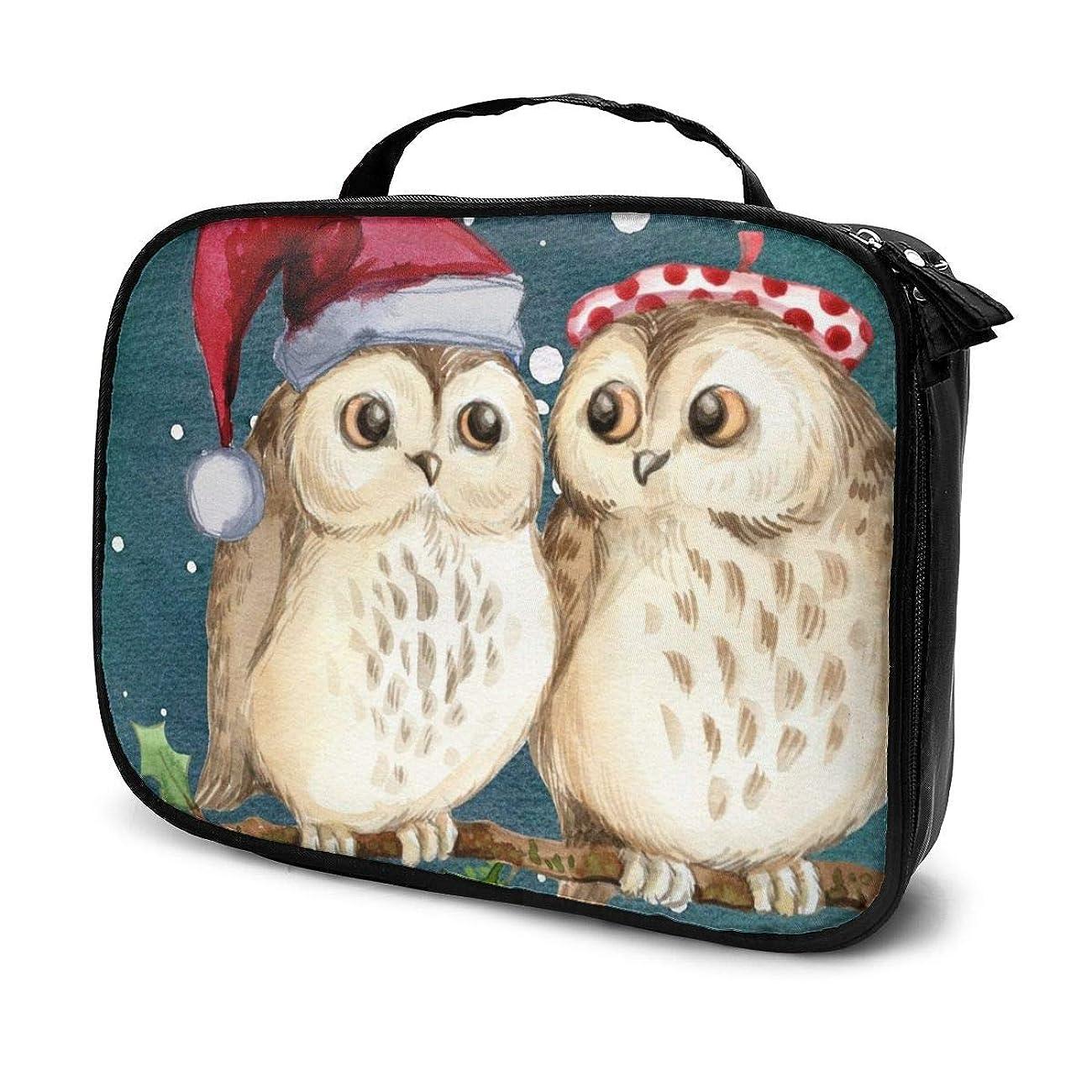 要求するホットボート化粧品収納バッグ メリークリスマス フクロウ 収納ポーチ 収納袋 化粧ポーチ 旅行の収納 粧品袋 ウォッシュバッグ 多機能 旅行用品 おしゃれな 男女兼用
