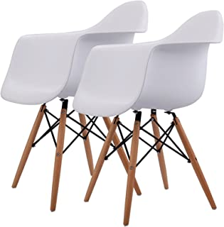 New Contemporary Mid Century Modern Molded Plastic Eames Style Dining Arm Chair Wood Legs White - Set of 2 #810