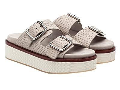 J/Slides Bowie (Light Grey Embossed Leather) Women