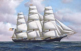 Berkin Arts Antonio Jacobsen Giclee Art Paper Print Art Works Paintings Poster Reproduction(The American Clipper Ship Flying Cloud at Sea Under Full) #XZZ