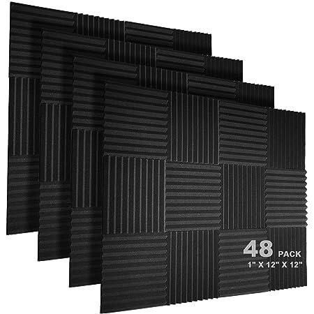 """JBER 48 Pack Acoustic Foam Panels, 1"""" X 12"""" X 12"""" Studio Soundproofing Wedges Fire Resistant Sound Proof Padding Acoustic Treatment Foam - Black"""
