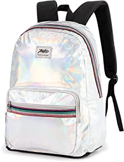 Etrapro Holographic Laser Leather Backpack for Women and Girls Travel Casual Daypack