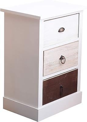 Rebecca Mobili Table de Chevet 3 Tiroirs, Table de Buit Petit Espace Blanc Noir Beige, Style Shabby - Dimensions: 53,5 x 37 x 27 cm (HxLxL) - Art. RE4309