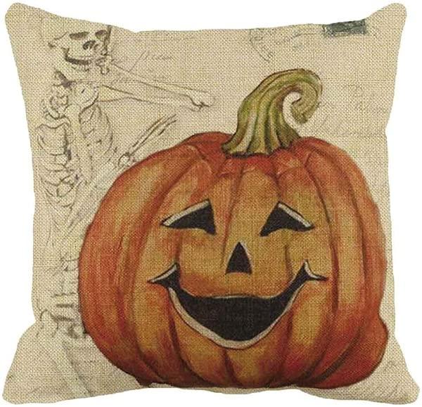 Laimeng Halloween Thriller Pillow Halloween Pumpkin Square Pillow Cover Cushion Case Pillowcase Zipper Closure