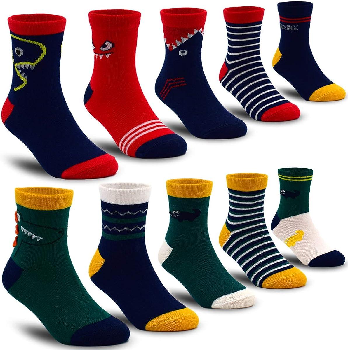 Boys' 10-Pack Cotton Crew Sock Kids Fashion Athletic Socks