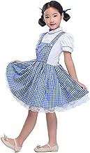HUALIL Girls Blue Gingham Dresses Vintage Plaid Strappy Suspender Maid Fluffy Dress Dance Tutu Underskirt