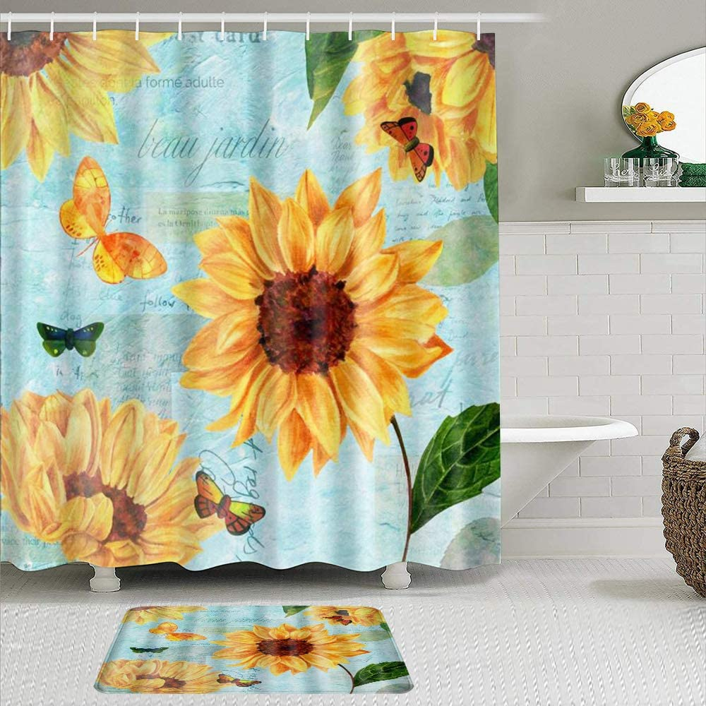 New arrival LUBATAGA 2 Popular product Piece Shower Curtain Set Sunflower Slip Rugs with Non