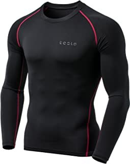 TSLA Men's Long Sleeve T-Shirt Baselayer Cool Dry Compression Top MUD11/ MUD01