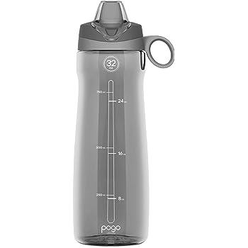 Pogo Tritan botella de agua con paja suave, Gris, 32oz