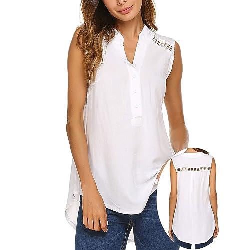 e1acbd1b1 Teewanna Women Long Sleeve/Sleeveless Blouse Comfy V Neck Loose Casual Button  Down Shirts