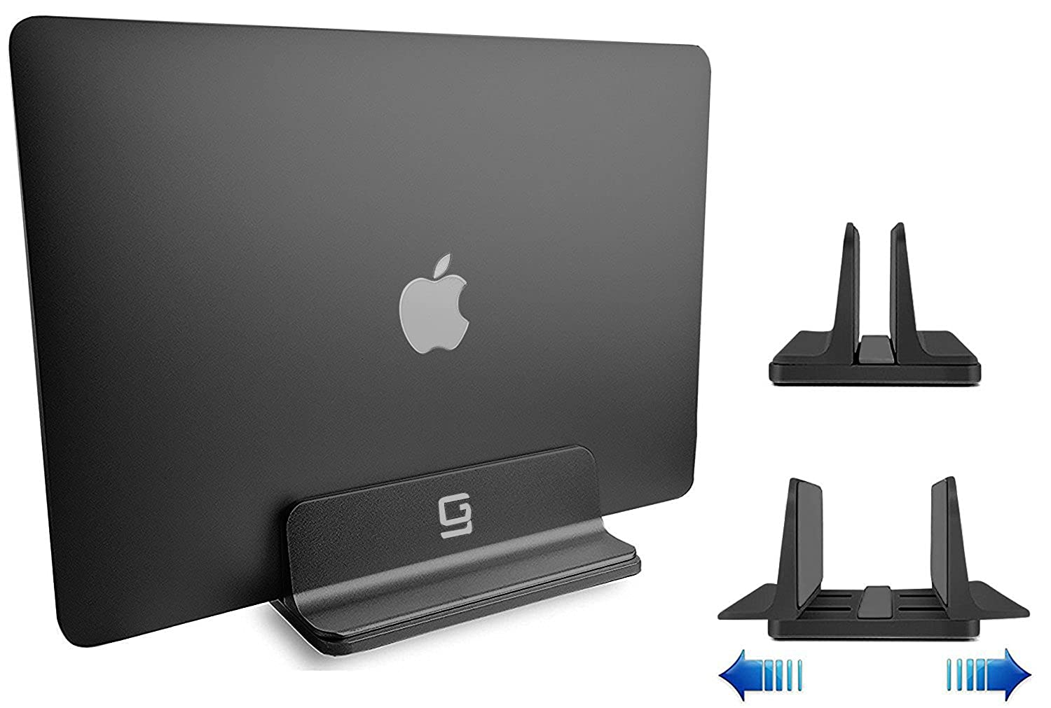 Adjustable Laptop Stand Dock | Compatible All MacBook Pro Air HP Dell Acer Lenovo Microsoft Surface Samsung Sony ASUS Laptops iPad | Vertical Modern Aluminum Custom Fit Desktop Space-Saving (Black)