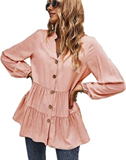 Women's Long Sleeve V Neck Blouses Tops Button Down Shirts