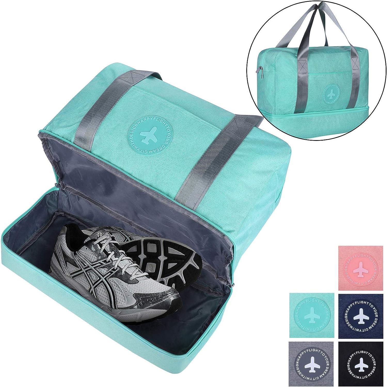 Gym Bag shoes Compartment Travel Duffel Bag Swim Bag for Women and Men (Light bluee)