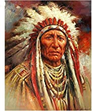 5D DIY Make kit Round Diamond Painting by Number 40X50cm,Art Kits American Natives Indian Woman Cross Stitch Embroidery Man Full Round Drill Mosaic